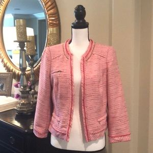 White House Black Market Pink Tweed Jacket Size 12